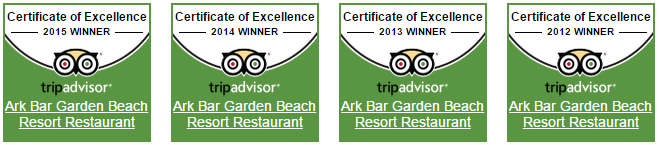 Ark Bar Garden Beach Resort Restaurant Certificate of Excellence