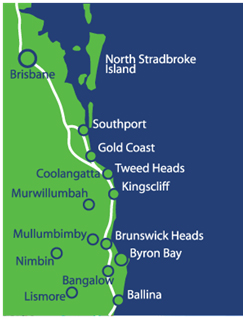 Closest to Byron Bay Schoolies Accommodation Map